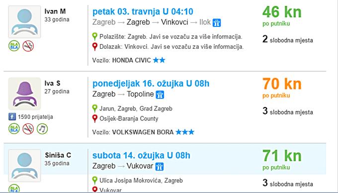 BlaBlaCar cijene putovanja Screenshot BlaBlaCarhr